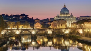 Night Light Bridge St. Peters Basilica Vatican City wallpaper: Angels Do Speak!®